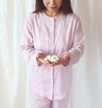 オーガニックコットン衿なしパジャマレディース