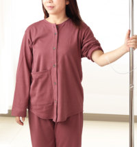 襟なし前開き冬パジャマ入院