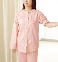 襟なし介護前開きパジャマ