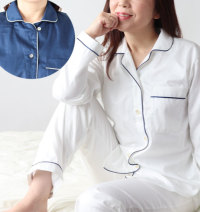 開襟パイピングパジャマ