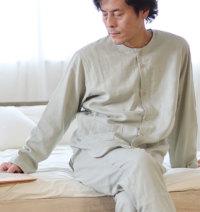 メンズ春秋前開き襟なしパジャマ